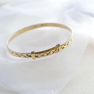 9ct Solid Yellow Gold Christening Bangle - christening jewellery