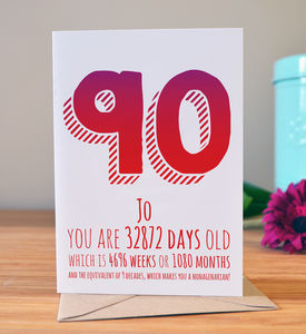 90th Birthday Milestone Card - special age birthday cards