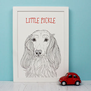 Personalised Long Haired Dachshund Print Print - posters & prints