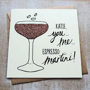 Personalised Glitter Espresso Martini Greetings Card - birthday cards