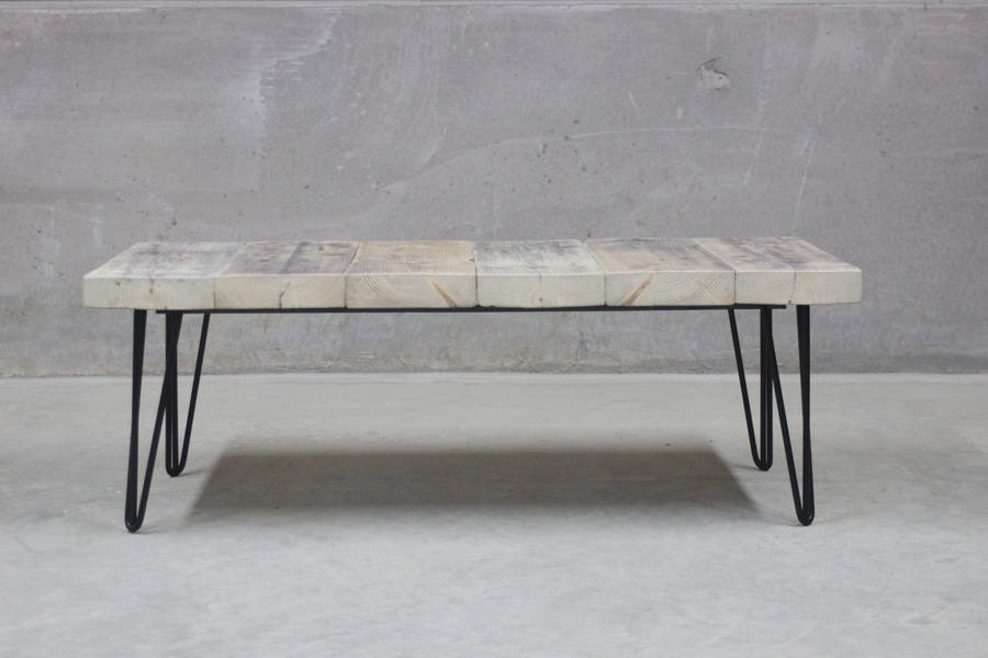 east west reclaimed coffee table with hairpin legs by rust collections. Black Bedroom Furniture Sets. Home Design Ideas