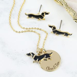 Personalised Sausage Dog Necklace And Earrings Set - earrings