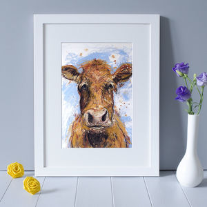 'Daisy' Cow Art Print - baby's room