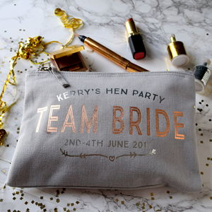 Personlised Team Bride Hen Party Make Up Bag