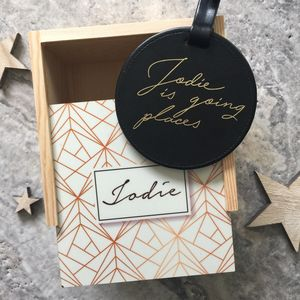 Personalised Luggage Tag And Wooden Box - winter sale