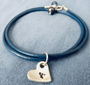 Personalised Heart Silver And Leather Bracelet