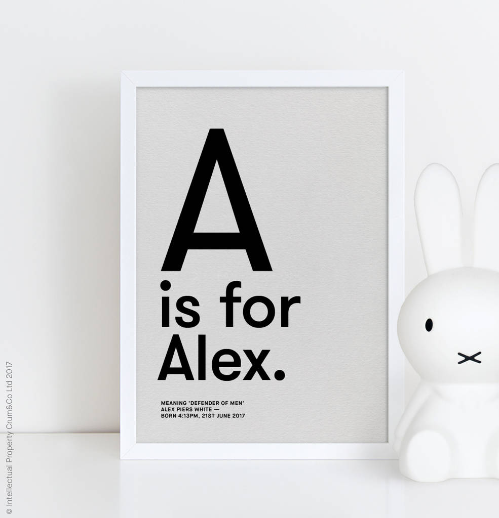 Personalised Baby Childs Name Meaning Print Nursery Poster