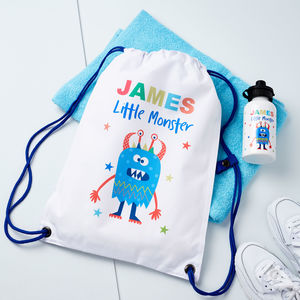 Boys Personalised Little Monster Bag And Water Bottle