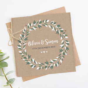 Botanical Kraft Folded Square Wedding Invite - invitations