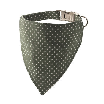 Fennel Green Polka Dot Bandana Dog Collar
