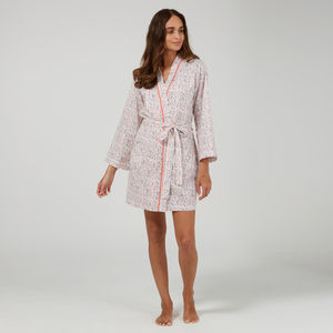 Short Cotton Robe In Orchard Print
