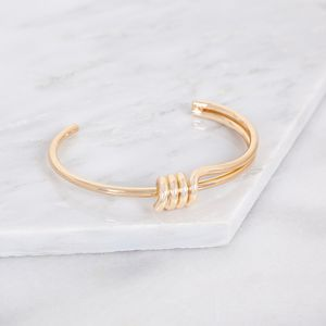 Personalised Gold Eternity Knot Cuff - friendship jewellery