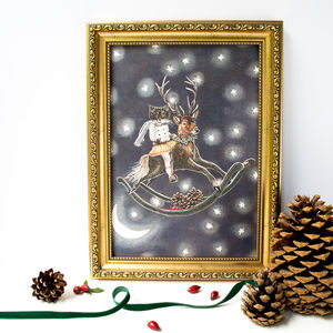 Black Cat On A Reindeer Rocking Horse Illustrated Print