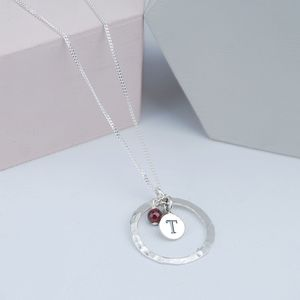 Hammered Silver Pendant Birthstone Necklace - valentine's gifts for her