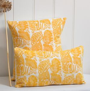 Queen Anne's Lace Block Printed Cotton Cushions - cushions