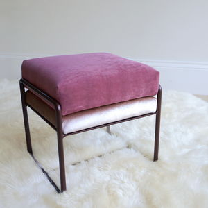 Neapolitan Two Tone Velvet And Metal Footstool