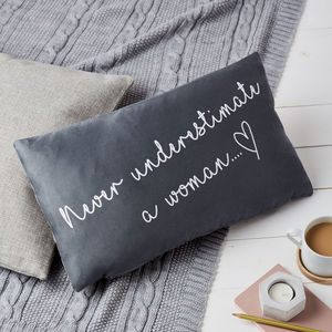 Never Underestimate A Woman Quote Cushion - bedroom
