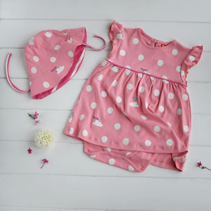 Pink Spotty Baby Body Dress And Sun Hat Set - dresses