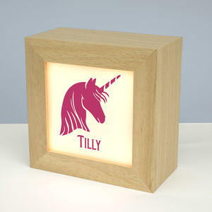 Personalised Solid Wood Unicorn Lightbox