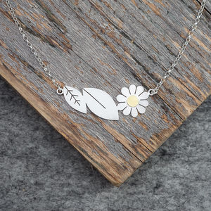 Leaves And Daisy Necklace In Solid Silver And 18ct Gold