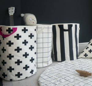 Monochrome Print Toy Storage Bag - laundry bags & baskets