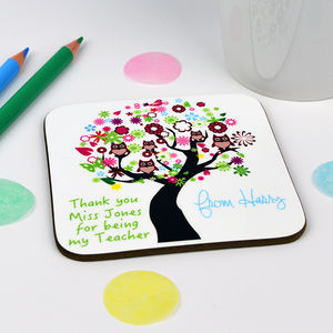 Personalised Tree Teacher Coaster - gifts for teachers