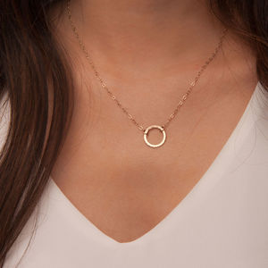 Gold Or Silver Hammered Karma Disc Necklace - gifts for her