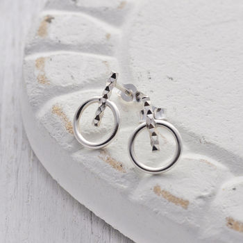 Silver Circle Bar Stud Earrings