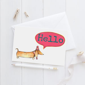 Hello Sausage Dog Greeting Card