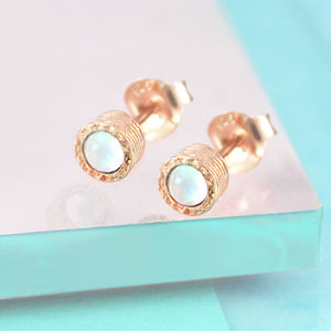Rose Gold Opal Textured Stud Earrings - october birthstone