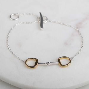 Solid Silver And Gold Single Riding Snaffle Bracelet - bracelets & bangles