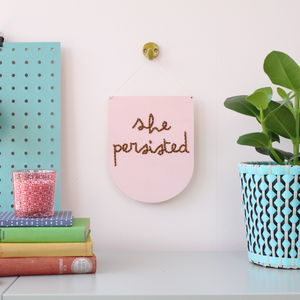 Hand Painted Wooden Embroidery Kit 'She Persisted'