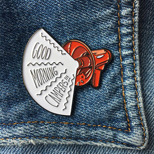 'Good Morning Campers' Enamel Pin - pins & brooches