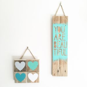 'You Are Beautiful' Reclaimed Wood Sign