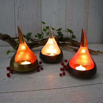 Set Of Copper, Silver And Gold Leaf Tealight Votives