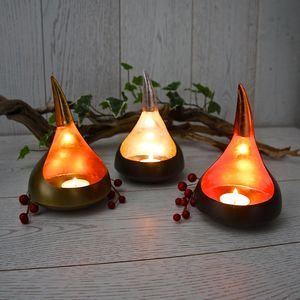 Set Of Copper, Silver And Gold Leaf Tealight Votives - weddings sale