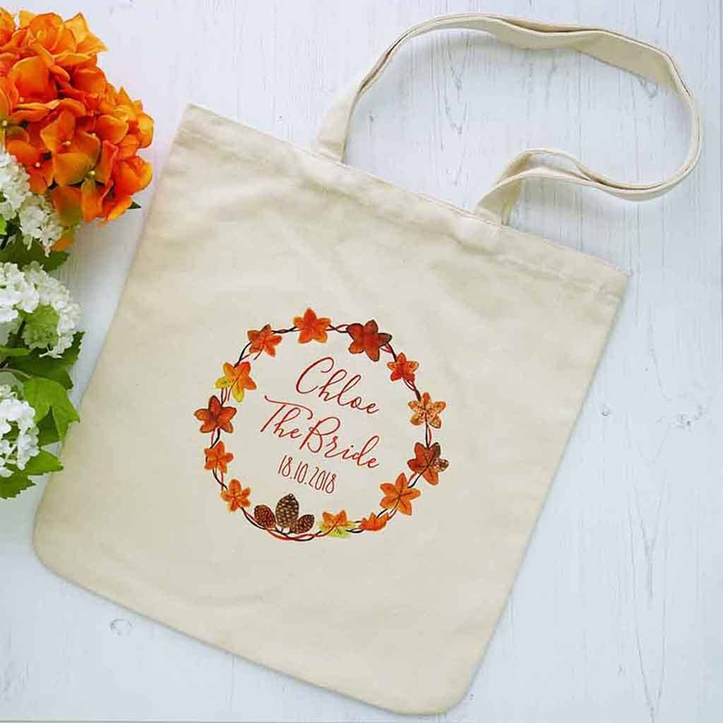 Personalised Autumn Wedding Bridal Party Shopper Bag