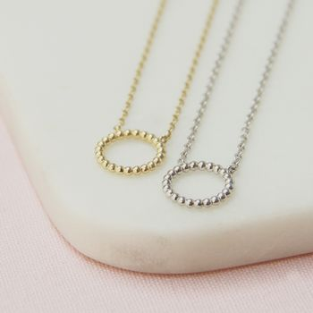 Gold Or Silver Beaded Eternity Necklace