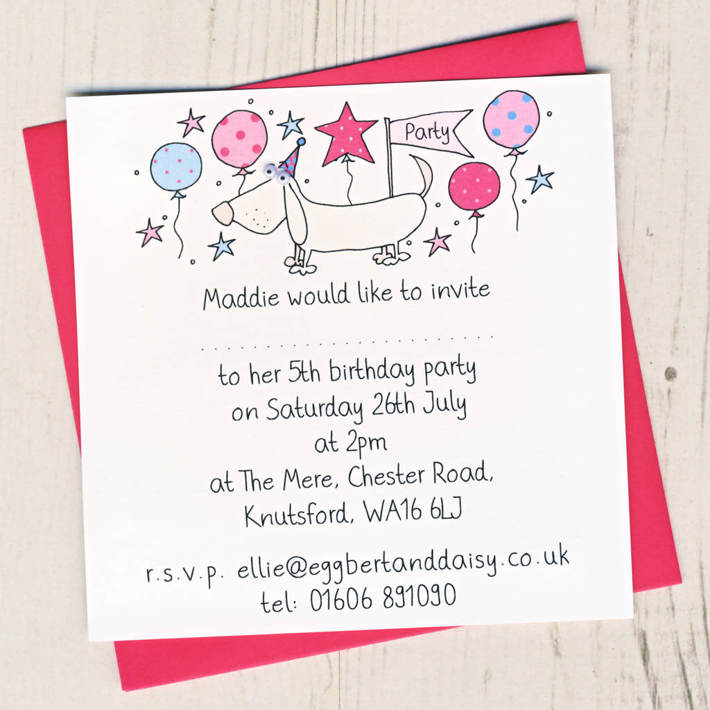 Personalised Dog Party Invitation Pack