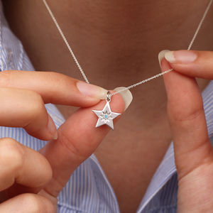 Personalised Sterling Silver Birthstone Star Necklace