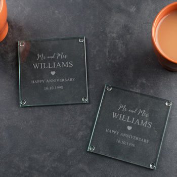 Personalised Anniversary Glass Coaster Set