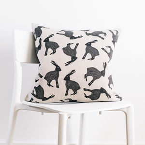 Leaping Hare Cushion With Wool Back - cushions