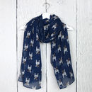 Little French Bulldog Print Scarf