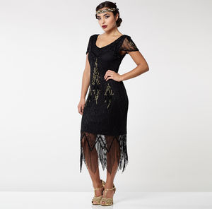 Gatsbylady Annette Fringe Flapper Dress In Black Gold - dresses