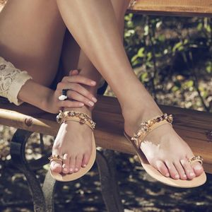 Handmade Embellished Toe Ring Leather Sandals