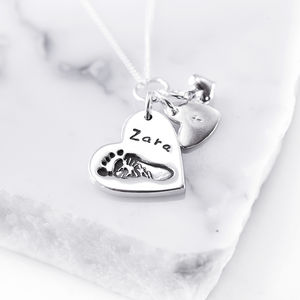 Personalised Silver Hand And Foot Print Charm Necklace