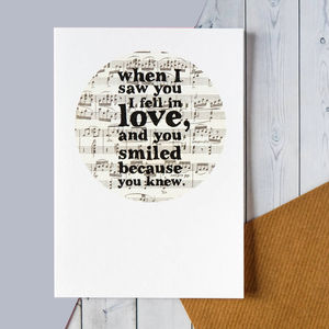 Romantic 'When I Saw You I Fell In Love' Card - summer sale