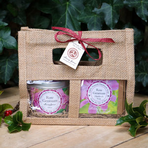 Rose Geranium Soap And Candle Gift Set