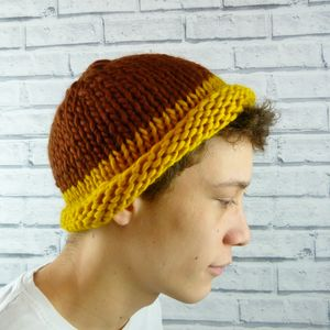 Mens Brown And Mustard Colour Block Beanie Hat - hats