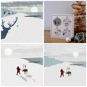 Set Of Four Individual Beach Inspired Christmas Cards - cards